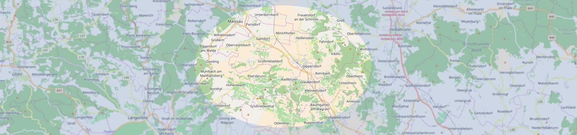 Landkarte mit Kennzeichnung des Schmidatal