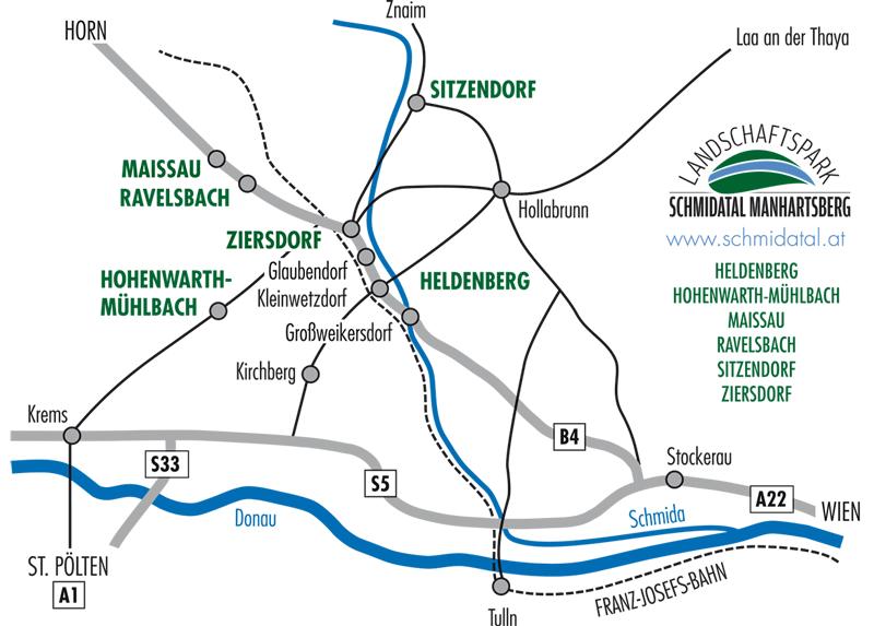 Anfahrtsplan und Ortschaften im Schmidatal