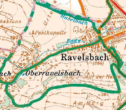 Rundwanderweg und Laufstrecke in Ravelsbach - Karte