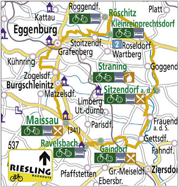 Karte Radweg der Riesling - Landschaftspark Schmidatal
