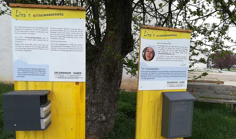 Infotafel mit Frage auf Lisa's Rätselwanderweg in Heldenberg