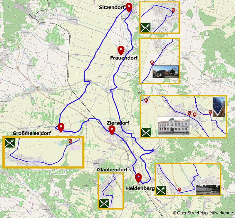 Streckenkarte Energie Radwanderweg Ost