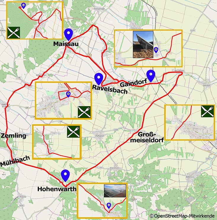 Streckenkarte Energie Radwanderweg West